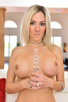 Super fit blonde bombshell Blake strips to fuck her big glass toy