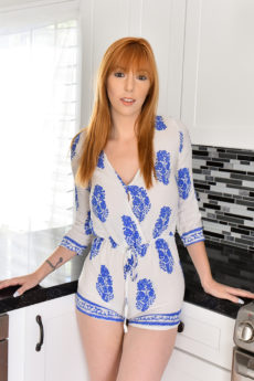Gorgeous redhead MILF Lauren takes off her clothes in the kitchen and shows her natural bush